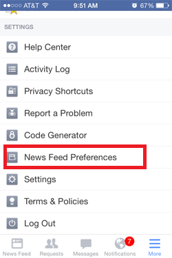 News Feed Preferences - mobile